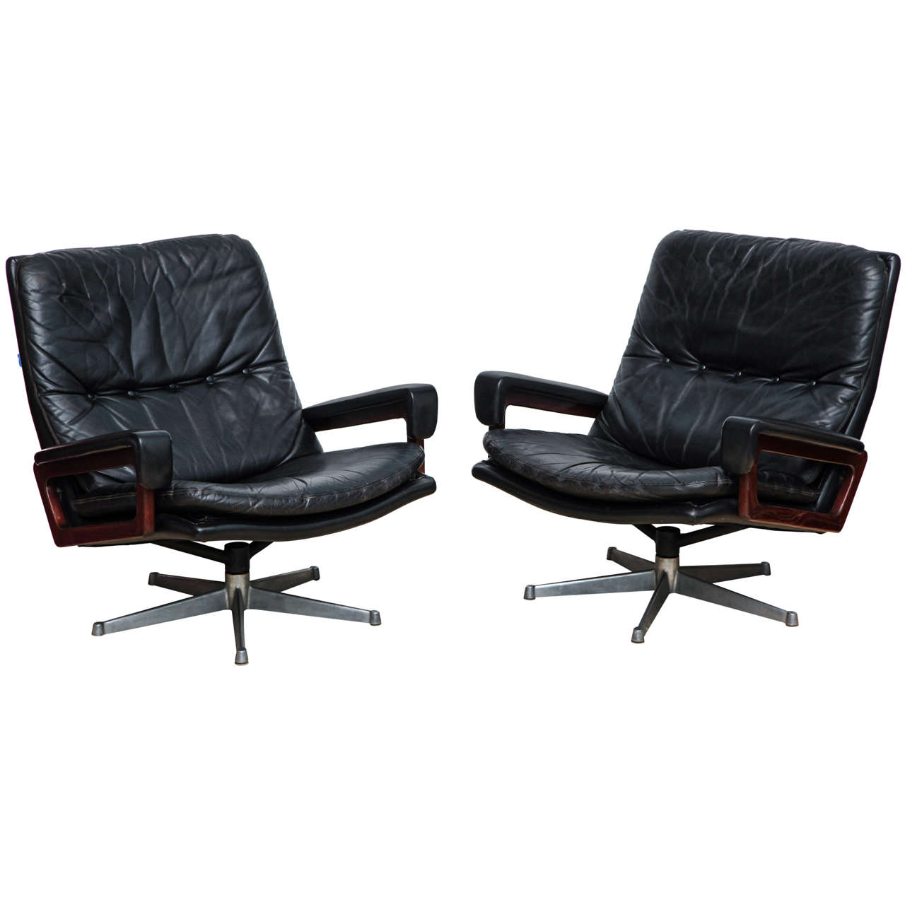 Pair Of King Swivel Lounge Chairs By Andre Vandenbeuck At 1stdibs
