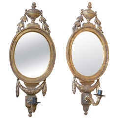 Pair of Louis XVI Style Gilt-Wood Oval Mirrors with Sconces