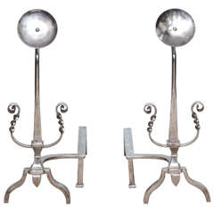"Pair of Mid Century Polished Steel ""Moon Flower"" Andirons"