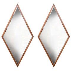 Double Diamond Walnut Frame Mirrors by Edmund Spence
