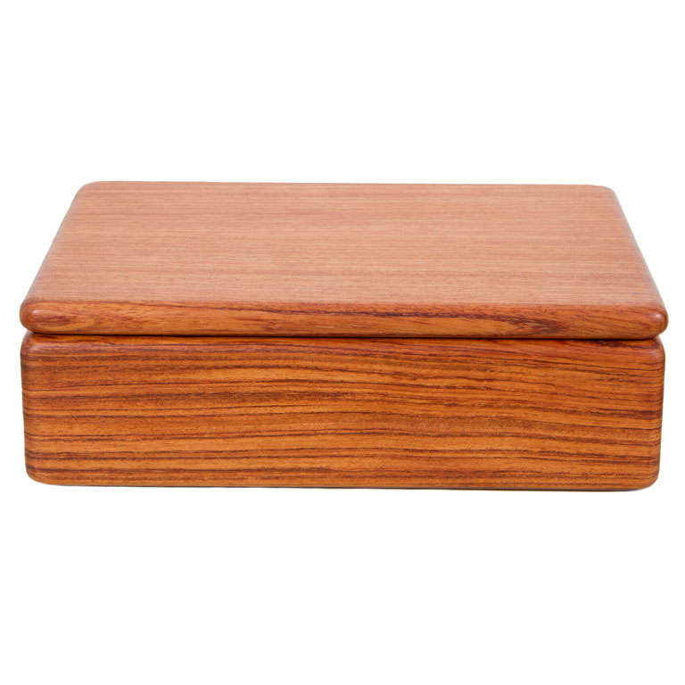Rectangular Teak Jewelry Box For Sale at 1stdibs