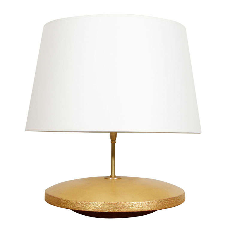 Andrea Koeppel's Ceramic Table Lamp with 23K Gold Gilt Finish