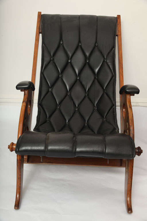 Italian  Lounge Chair Mid Century Modern Leather adjustable Italy 1960's For Sale