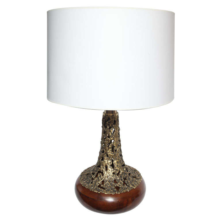 1960s Sculptural Brass and Wood Table Lamp