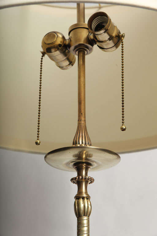 Elegant Art Deco Polished Brass and Onyx Floor Lamp For Sale 1
