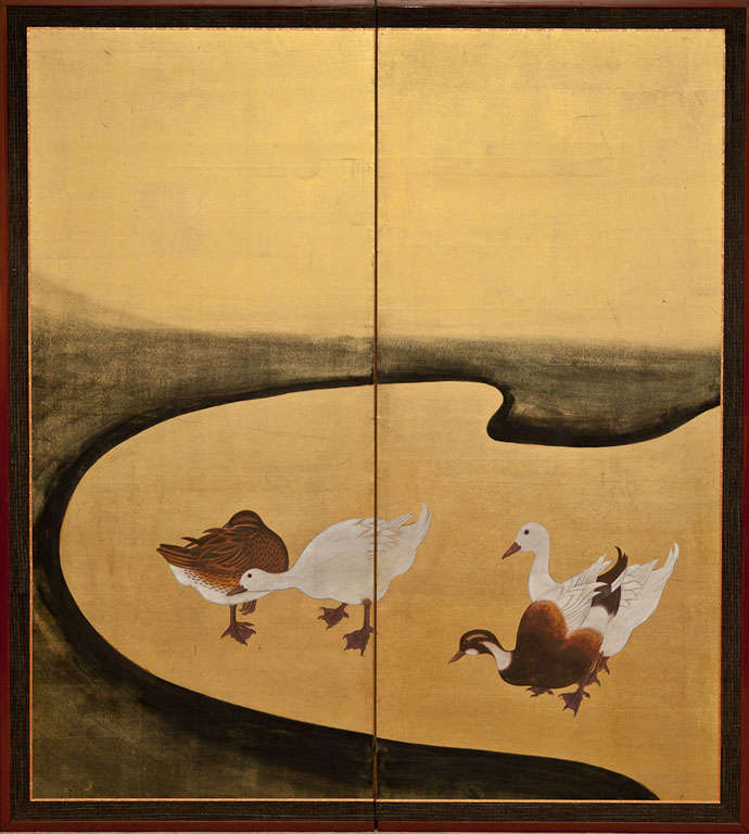 Japanese two-panel screen: Water Fowl by River's Edge.