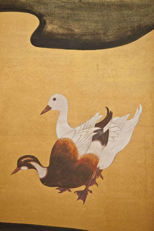 Japanese Screen Waterfowl by River's Edge In Excellent Condition For Sale In Hudson, NY
