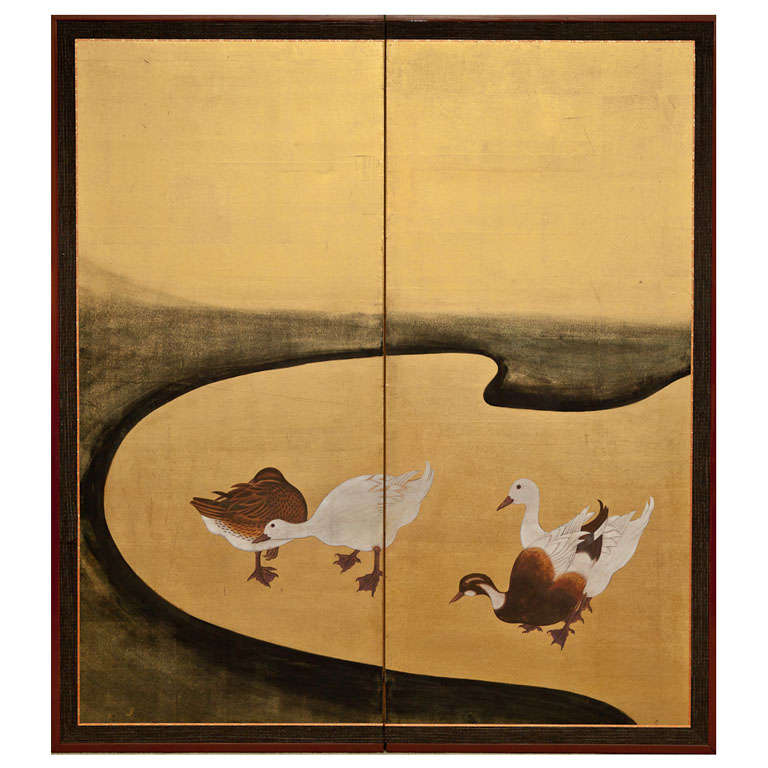 Japanese Screen Water Fowl By River 39 S Edge At 1stdibs