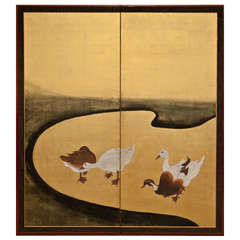 Japanese Screen: Water Fowl by River's Edge