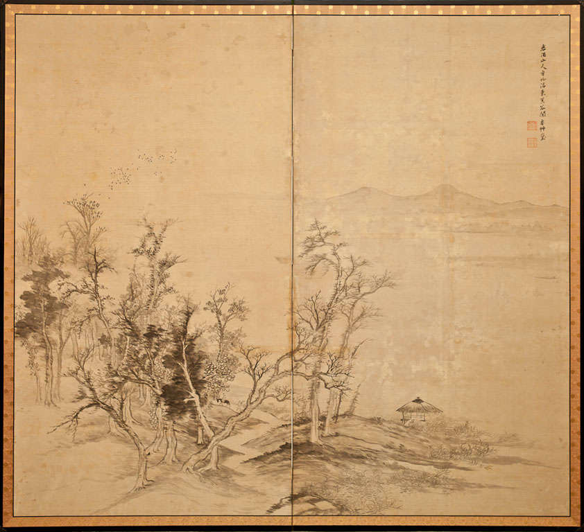 Japanese Two Panel Screen: Ink Landscape on Silk, Meiji period (1868 - 1912) painting of a man riding a mule on a pathway through the Kurotani mountains with a thatched roof shelter on the right.  Signed: Shunyu.  Ink painting (sumi-e) on silk with