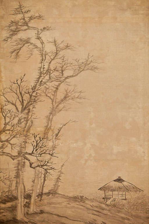 Meiji Japanese Two-Panel Screen: Ink Landscape on Silk For Sale