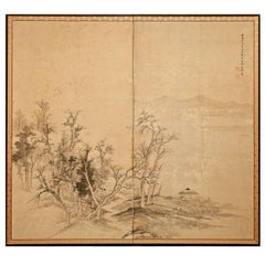 Japanese Two-Panel Screen: Ink Landscape on Silk