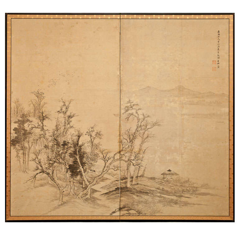 Japanese Two-Panel Screen: Ink Landscape on Silk For Sale