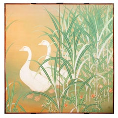 Japanese Screen of Pair of Geese on Pond's Edge