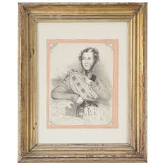 William IV Period Charcoal on Paper Drawing of a Scottish Dandy
