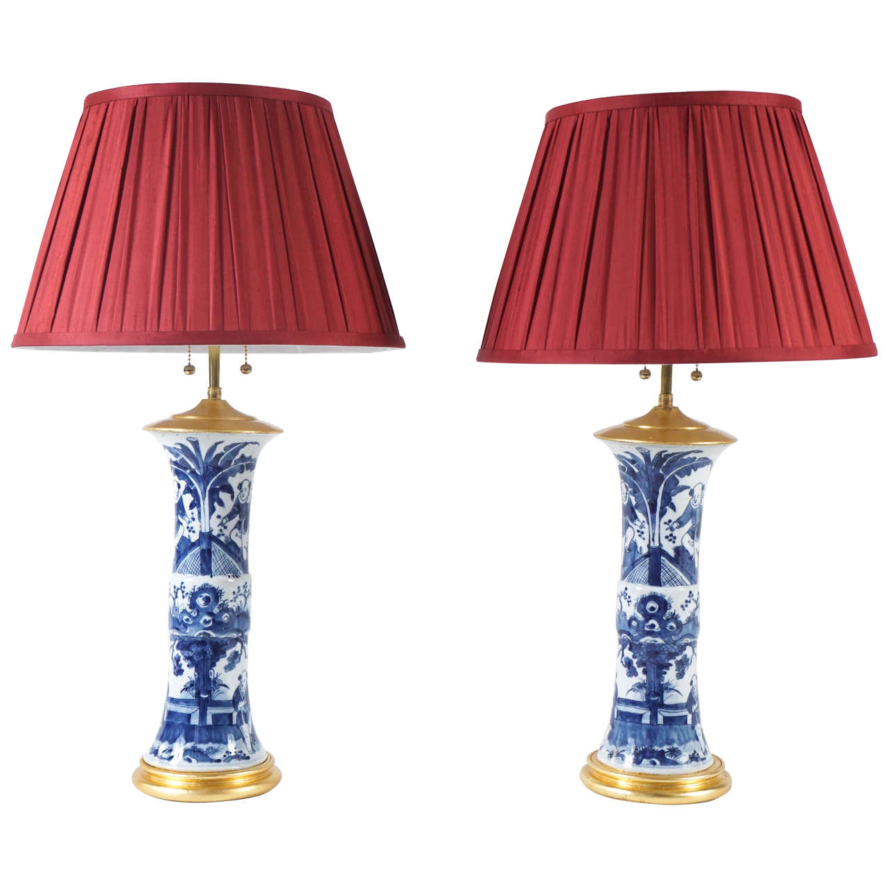 Pair Of Blue And White Chinese Export Qianlong Period Gu Vase Table Lamps 1