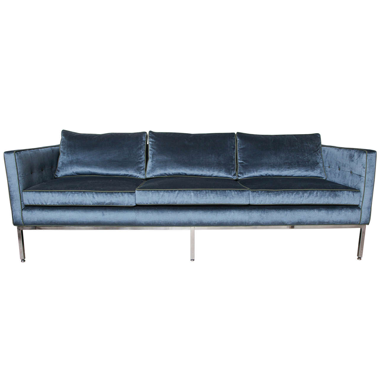 Blue Velvet Sofa At 1stdibs