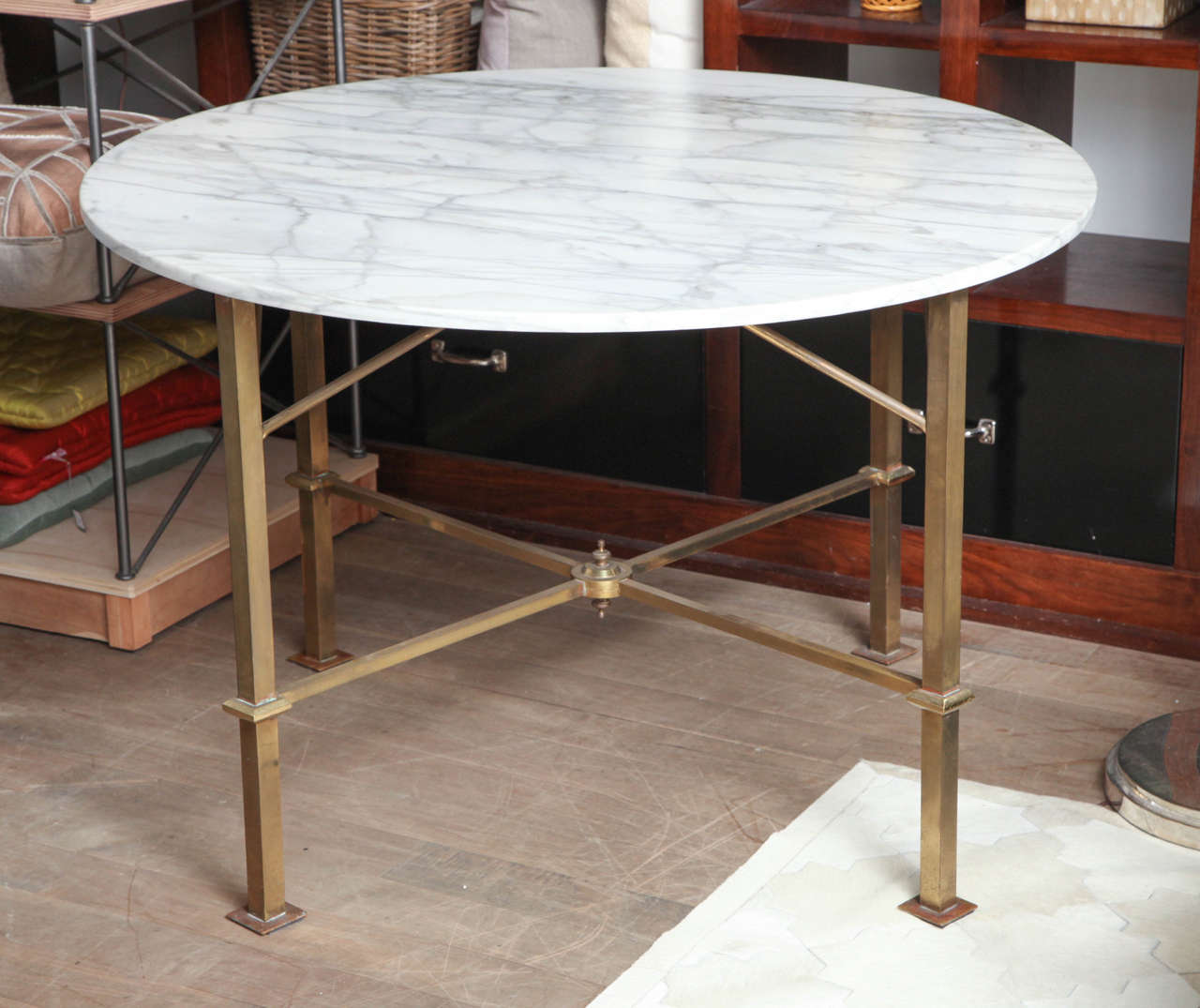 New York Marble Coffee Table: Marble And Brass Table At 1stdibs