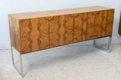 American Modern Burl Walnut Four-Door Sideboard or Buffet, Milo Baughman For Sale 5