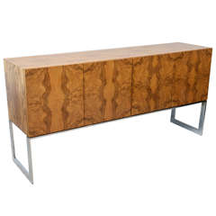 American Modern Burl Walnut Four-Door Sideboard or Buffet, Milo Baughman