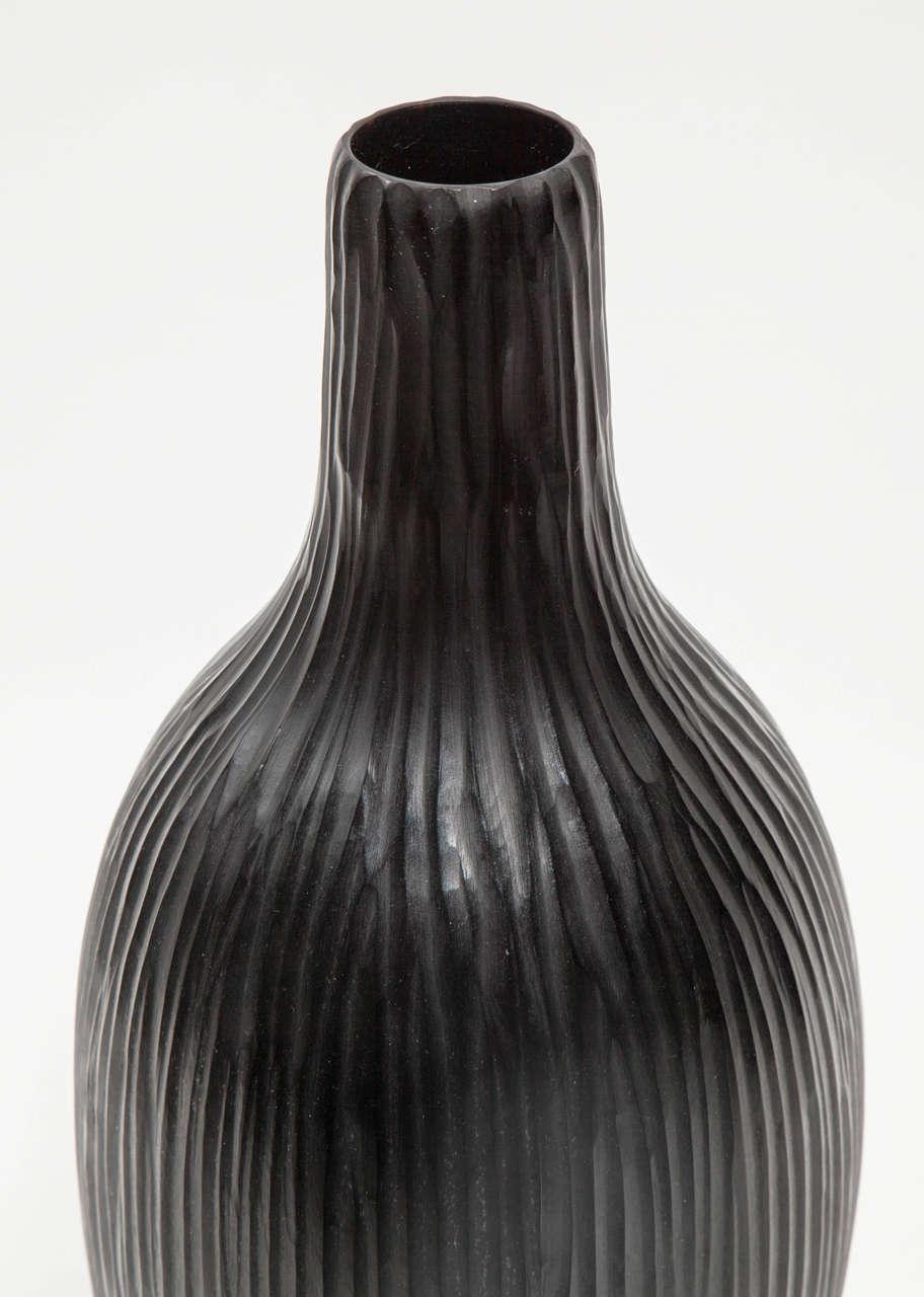 Modern Massimo Micheluzzi Black Murano Glass Vase, Hand Blown and Battuto Cut, 2002 For Sale