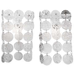 Pair of Elizabeth Lyons Wall Sconces, Pressed Glass Discs on Metal Forms, 2014