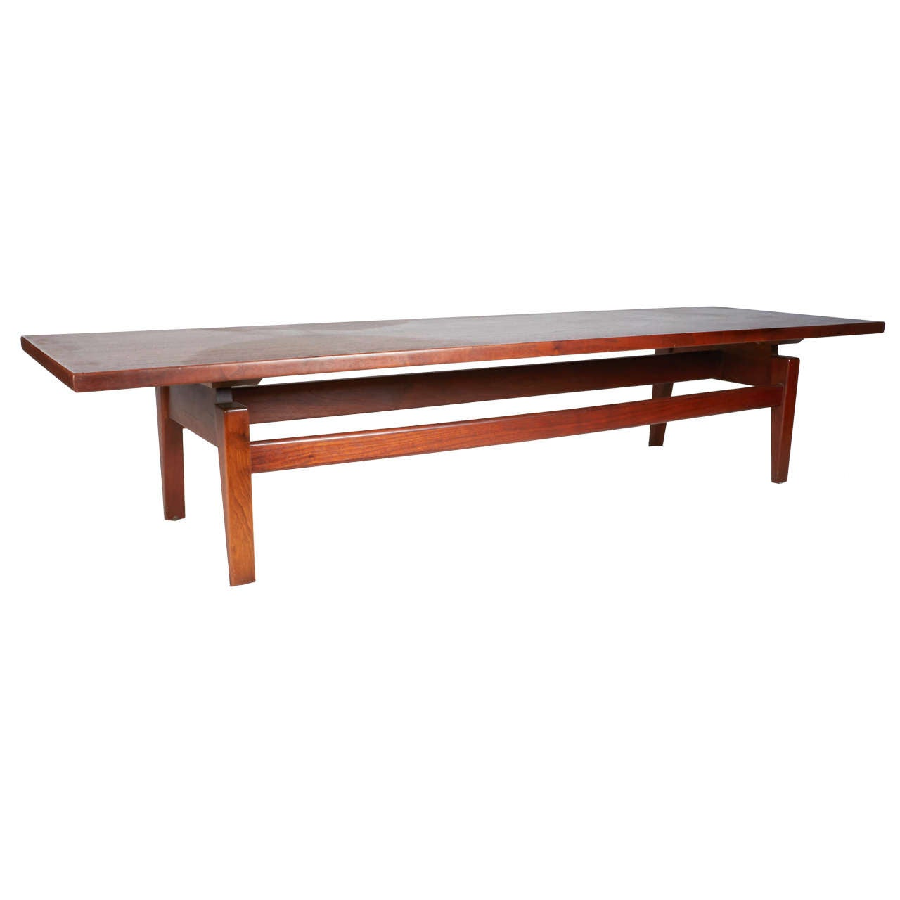 Handsome Long Walnut Coffee Table By Jens Risom At 1stdibs