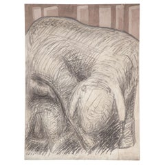 """""""Motherhood of a Sheep"""" Graphite on Canvas by Gino Cosentino, Italy 1960s"""