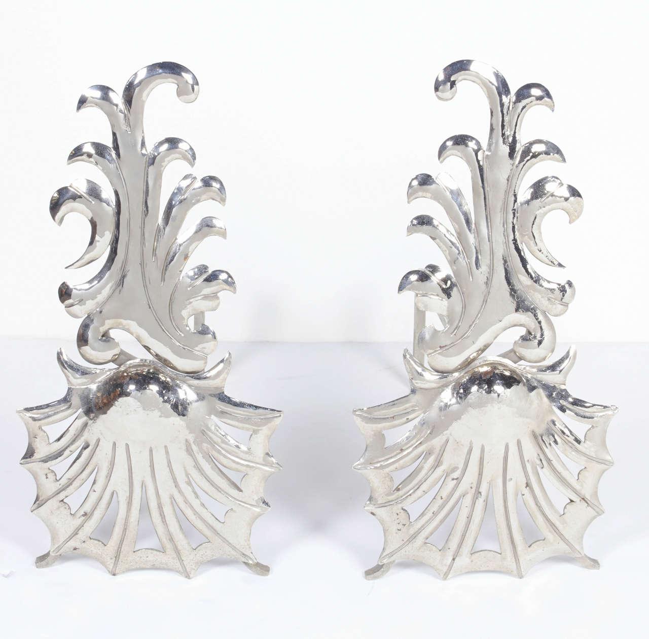 Pair of Elegant Hollywood Regency Fireplace Andirons 2