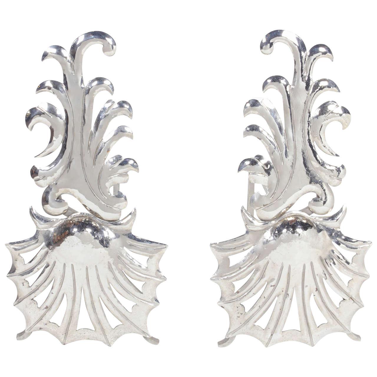 Pair of Elegant Hollywood Regency Fireplace Andirons 1
