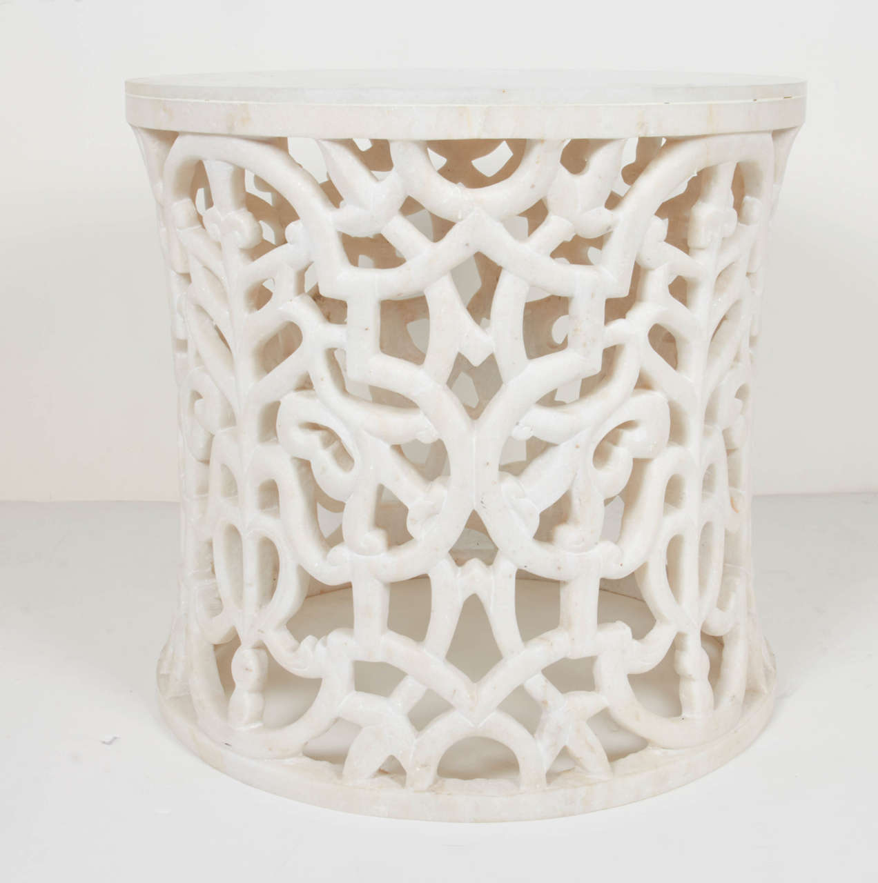 Arabesque Carved Marble Table With Pedestal Design At 1stdibs