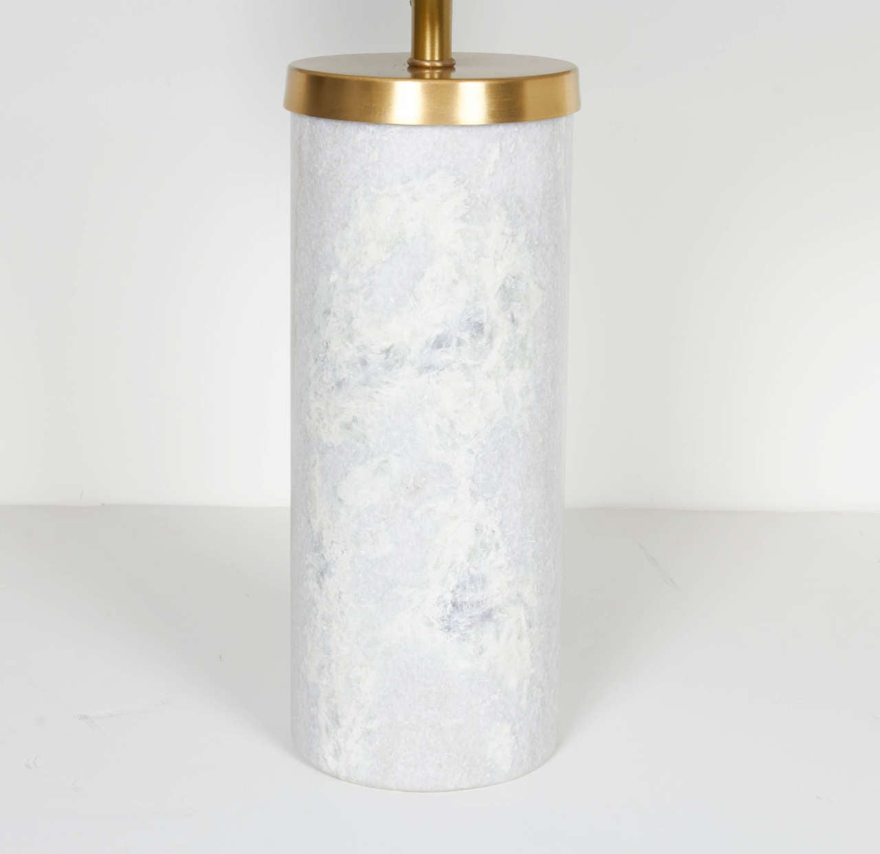 Pair Of Solid Marble Cylinder Desk Lamps With Brass Fittings 3