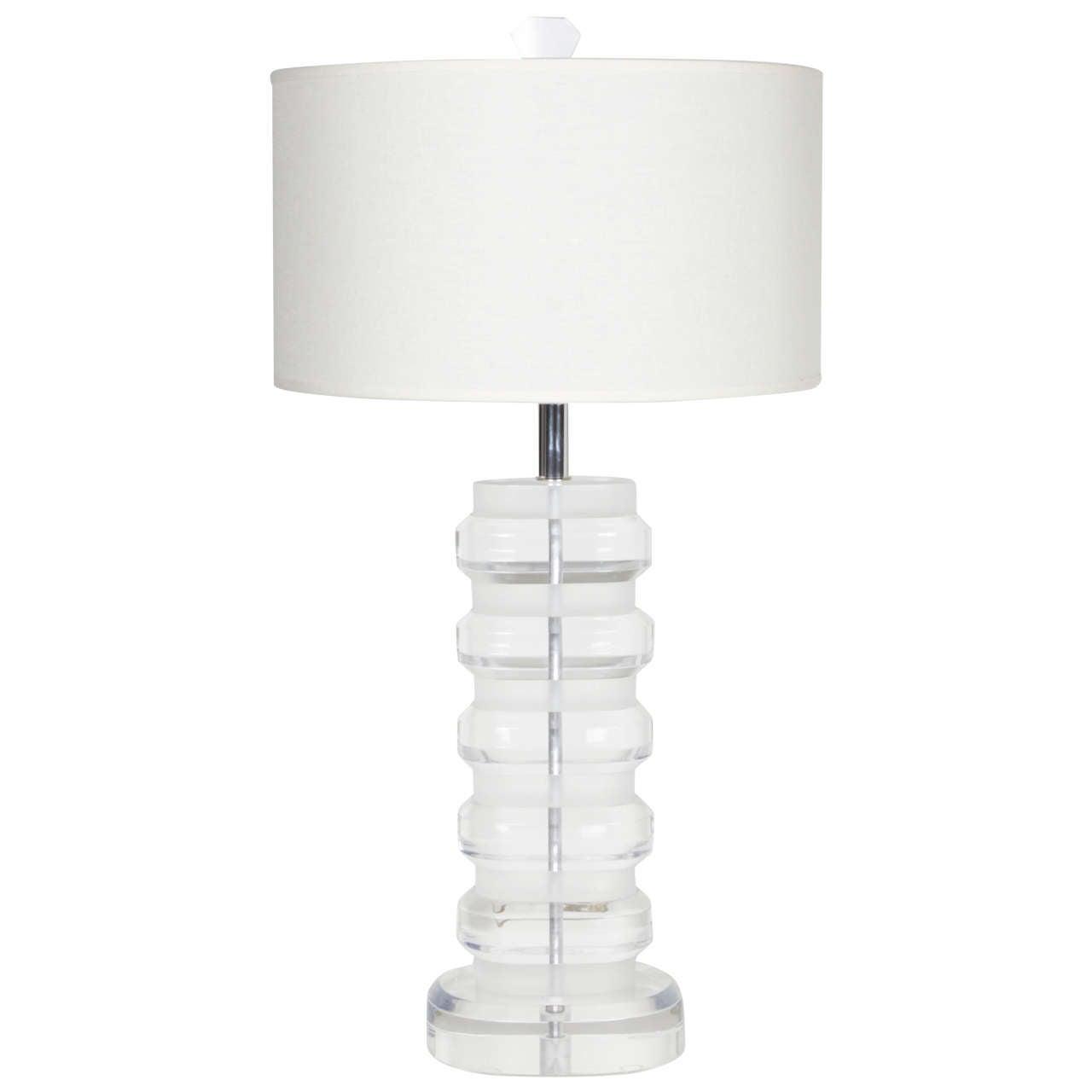Modernist Lucite Block Table Lamp in the style of Karl Springer