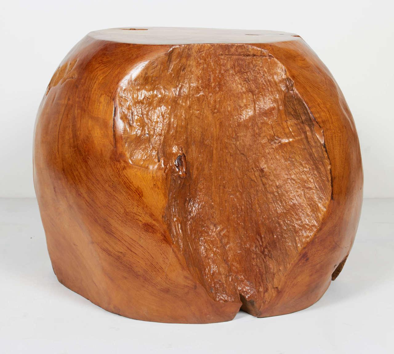 Organic teak wood spherical side table or stool at stdibs