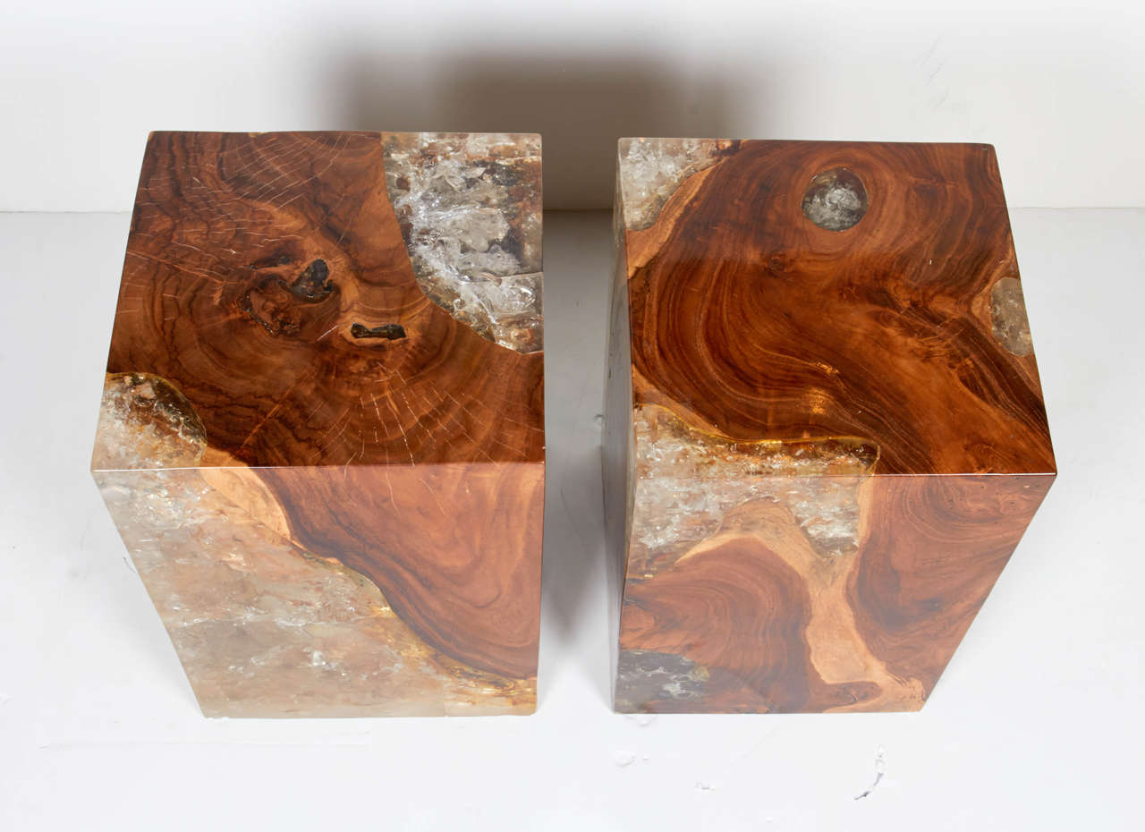 Pair Of Modern Organic Teak Wood And Cracked Resin Side Tables At 1stdibs