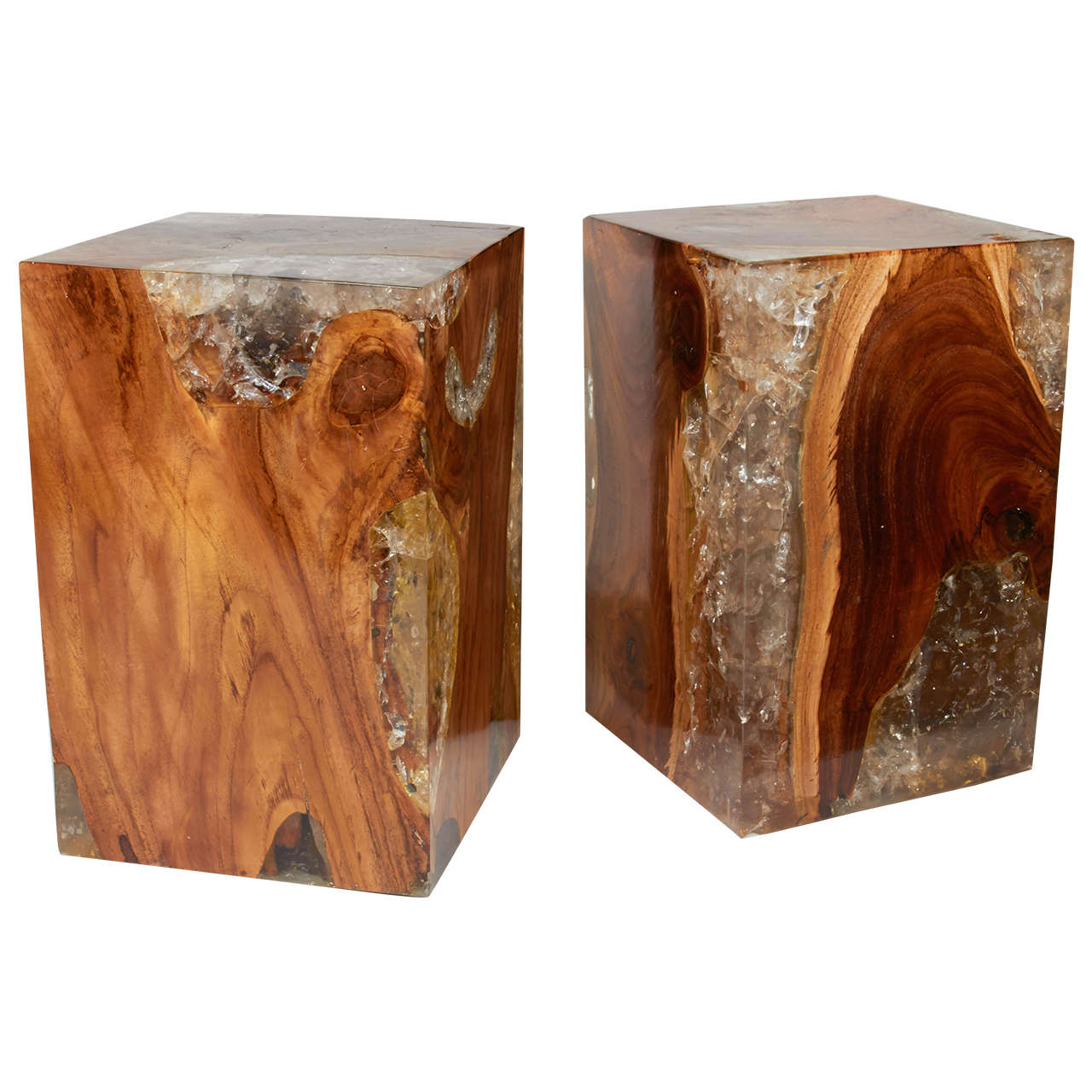 Pair Of Modern Organic Teak Wood And Cracked Resin Side Tables