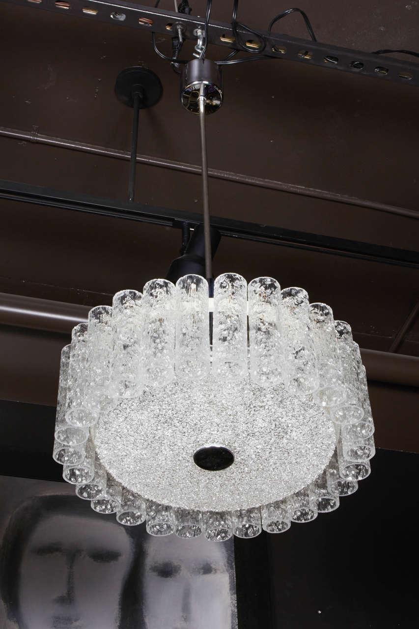 Elegant German Mid-Century Modern Textured Glass Chandelier 2