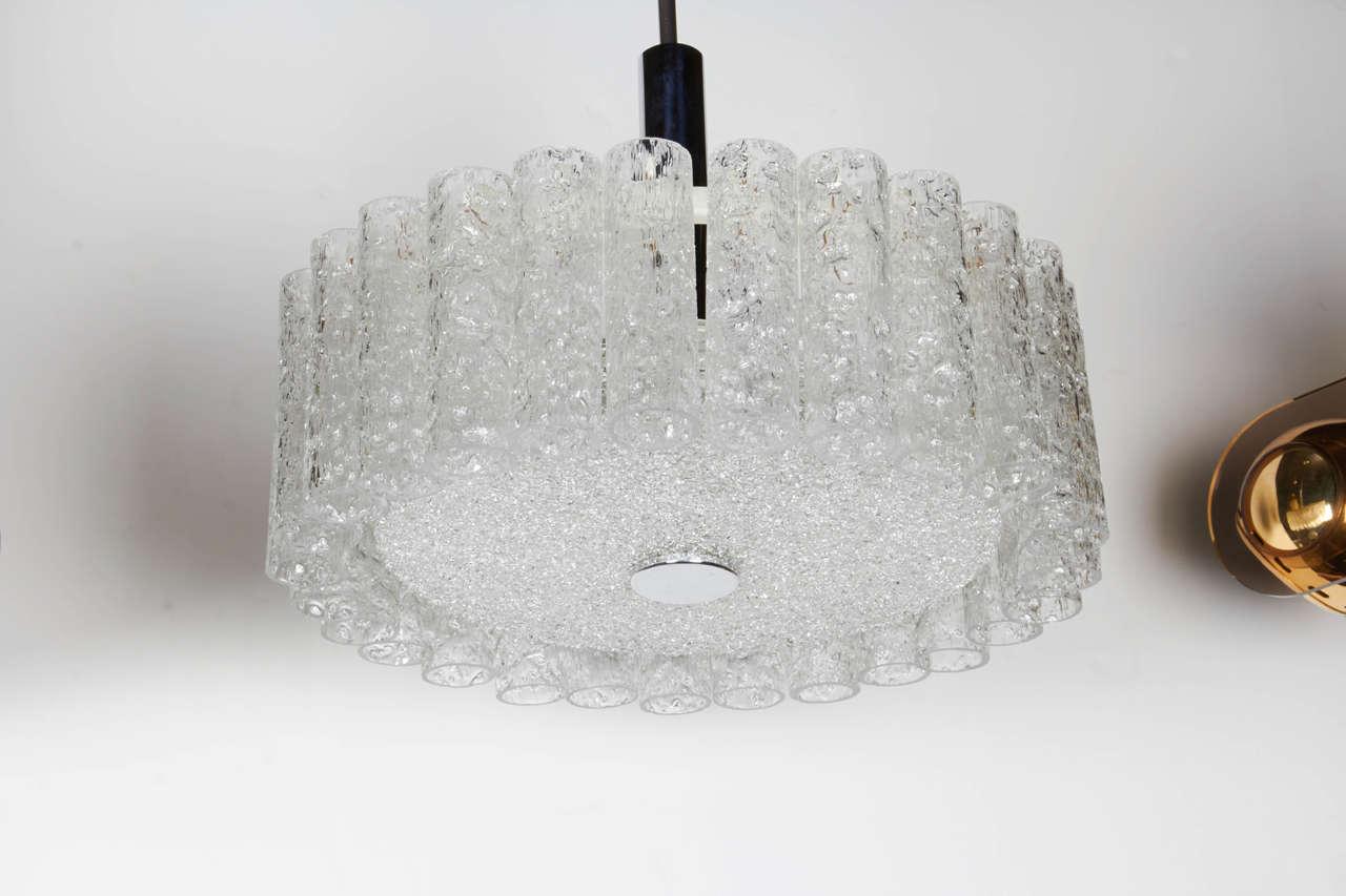 Elegant German Mid-Century Modern Textured Glass Chandelier 3
