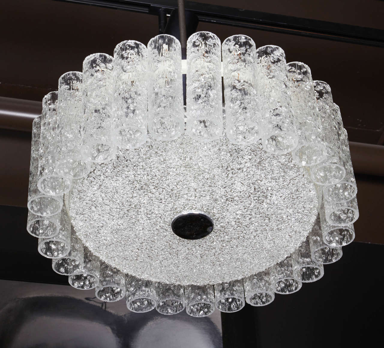 Blown Glass Elegant German Mid-Century Modern Textured Glass Chandelier For Sale