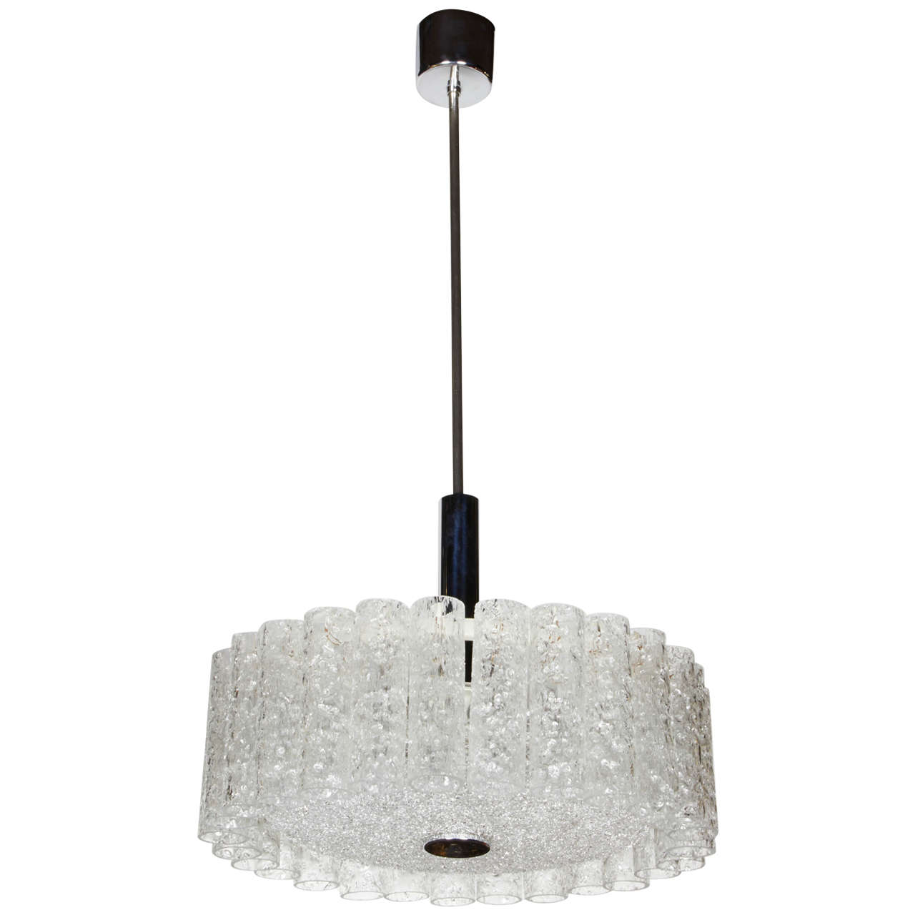 Elegant German Mid-Century Modern Textured Glass Chandelier For Sale
