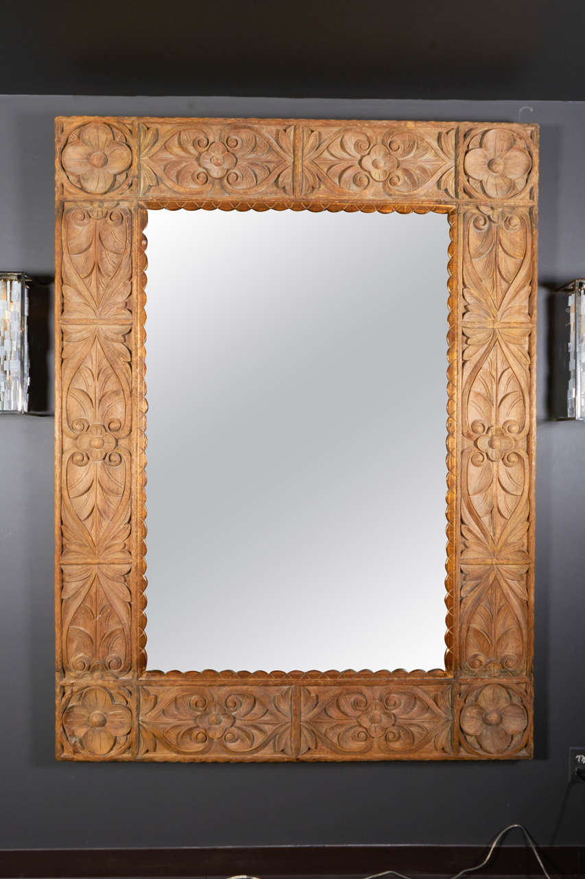 Exquisite Vintage Indonesian Mirror Is Hand Carved From Reclaimed And Washed Solid Teakwood