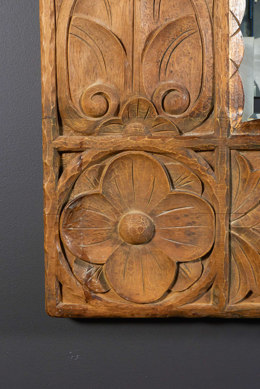 Organic Modern Monumental Vintage Indonesian Lotus Mirror in Hand Carved Teak Wood For Sale