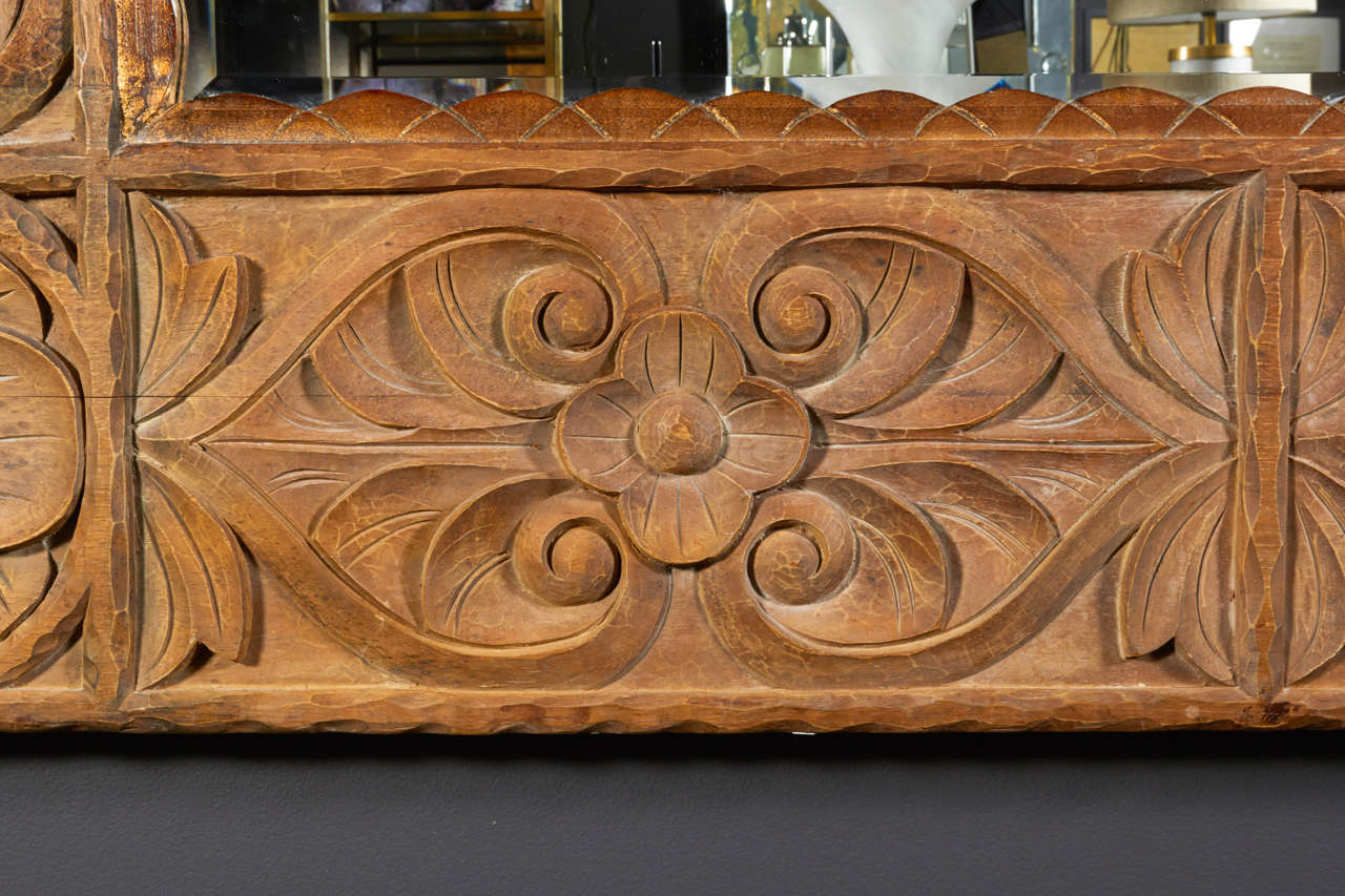 Beveled Monumental Vintage Indonesian Lotus Mirror in Hand Carved Teak Wood For Sale