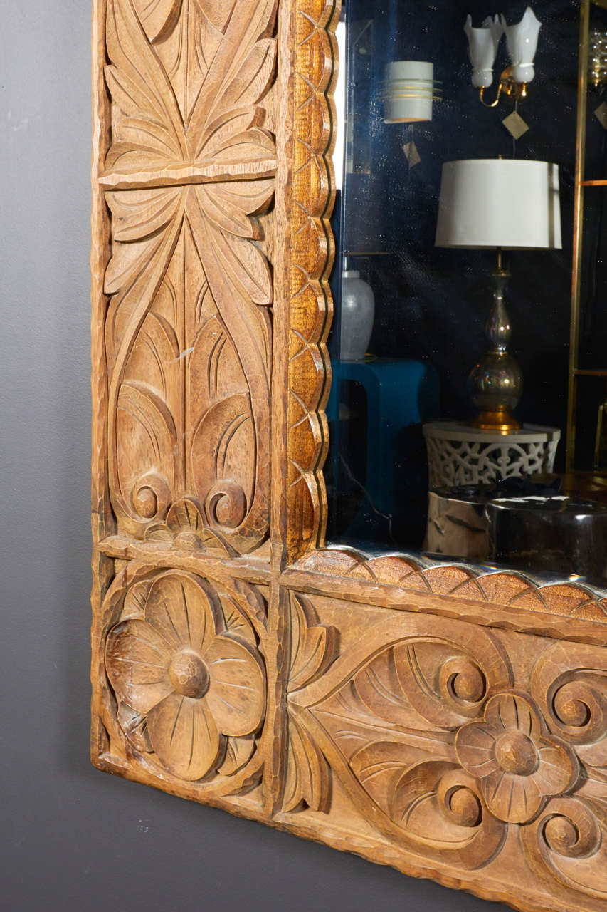 Monumental Vintage Indonesian Lotus Mirror in Hand Carved Teak Wood In Excellent Condition For Sale In Stamford, CT