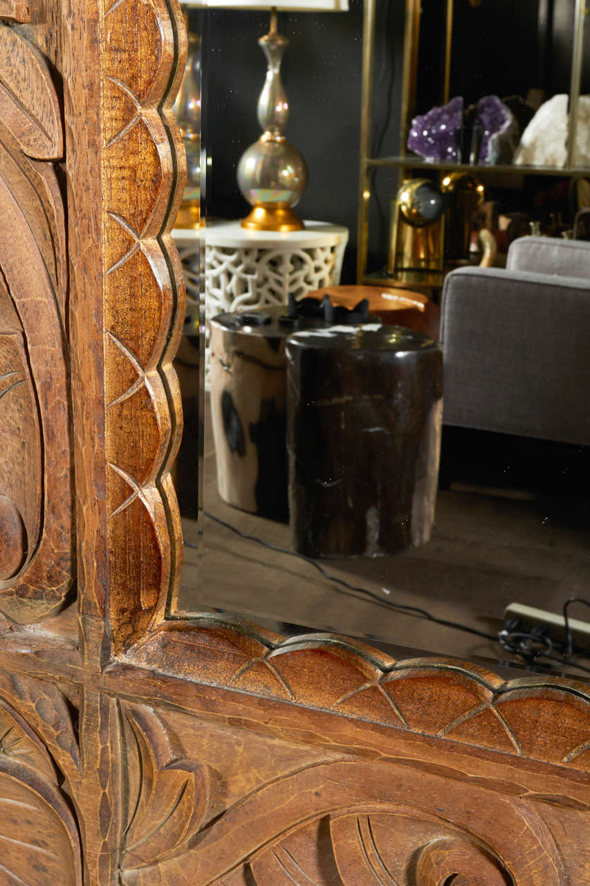 Monumental Vintage Indonesian Lotus Mirror in Hand Carved Teak Wood For Sale 1