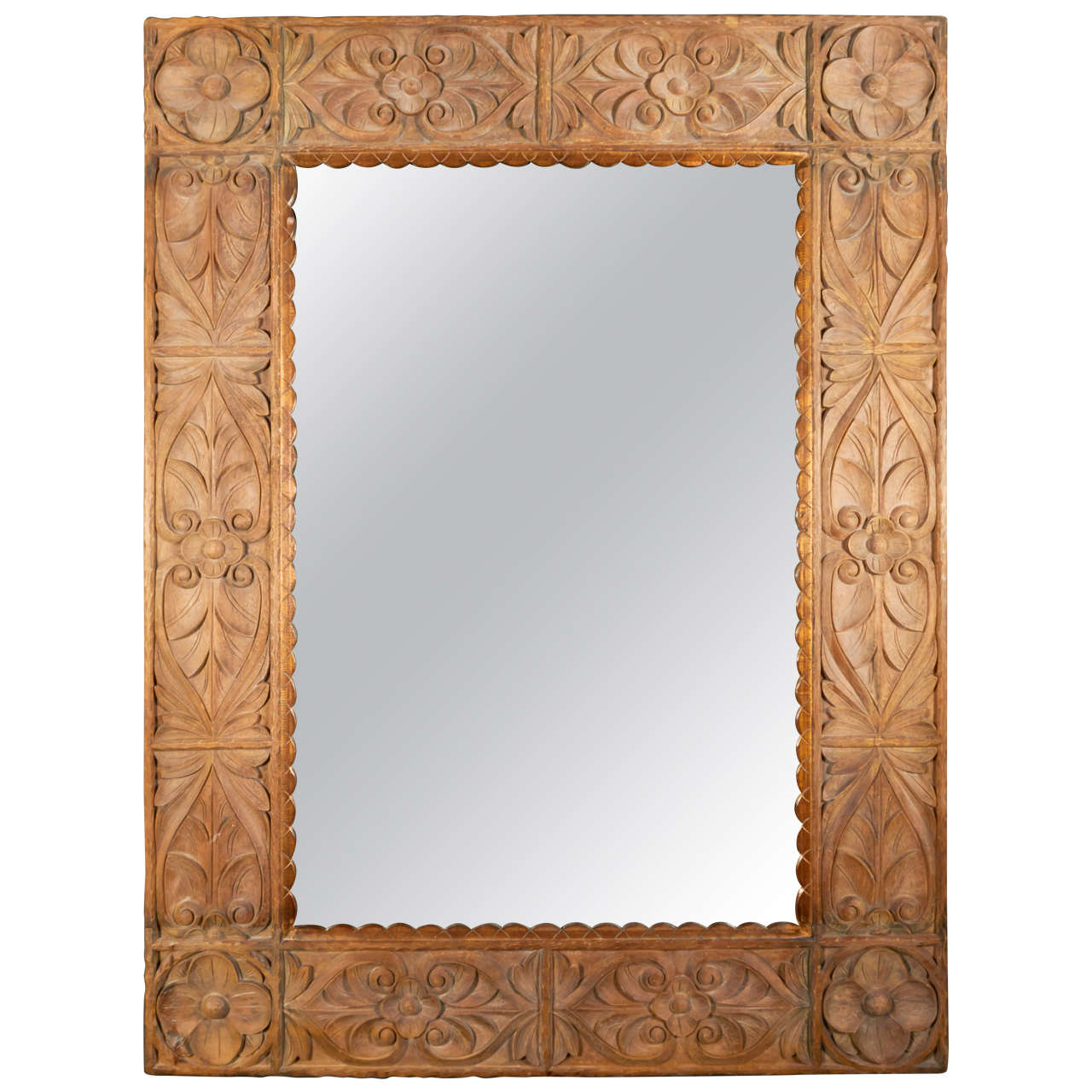 Monumental Vintage Indonesian Lotus Mirror in Hand Carved Teak Wood 1