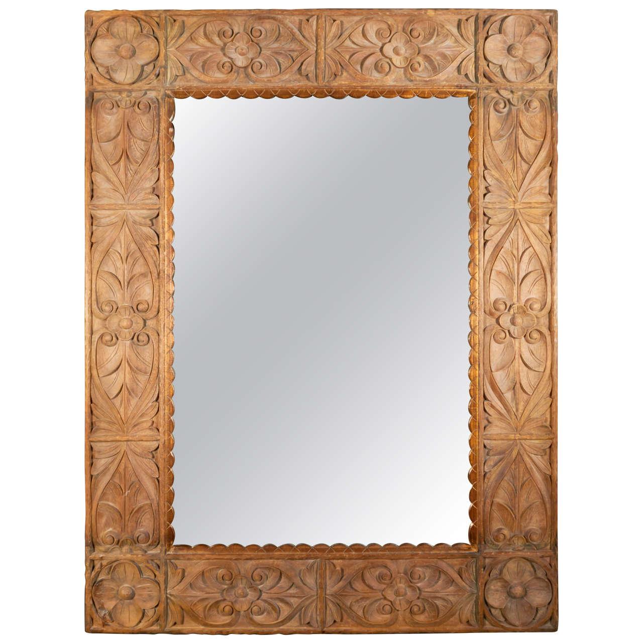 Monumental Vintage Indonesian Lotus Mirror in Hand Carved Teak Wood ...