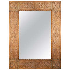 Monumental Vintage Indonesian Lotus Mirror in Hand Carved Teak Wood