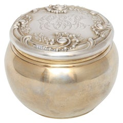 Unusual Victorian All Sterling Silver Gilt Dresser or Trinkets Jar