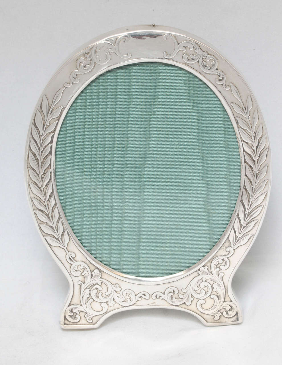 "Lovely, Victorian, sterling silver, ""acid-etched"" picture frame, The Alvin Silver Manufacturing Company, providence, Rhode Island, circa 1895. Measures: 6"" high x 5"" across widest point x 3"" deep opening of ease will show a photo 3 1/2"" x 4 1/2""."
